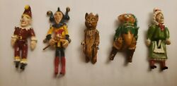 Vintage Hantel Pewter Miniatures Set Of 5 Puss In Boots, Judy Punch Jester Cat