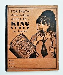 Vintage King Syrup Advertising Unused Notebook Student School Lined Paper