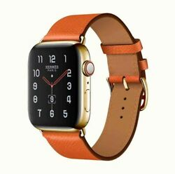 24k Gold Plated Apple Watch Series 7 Hermes 41mm 24k Gold Buckle Orange Leather