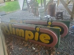 Antique Blimpie Green Red And Yellow.andnbsp Sign Measures 96 Long 24 High And 15.