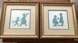 """Lot Of 2 Vintage Silhouette Pictures Antique Gold Framed 12""""x12"""""""