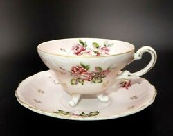 Vintage Lefton China Hand Painted 3-legged Pink Bisque 2-1/4 Tea Cup And Saucer