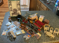 Vintage LOT Of 45 Dollhouse Miniature Wood Furniture amp; Accessories Mixed L@@K