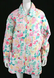 Vintage Multi-color Floral Cc Logo Patch Quilted Barn Coat 38