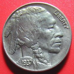 Usa 1937 Buffalo Nickel Au Toned With Some Luster High Grade Sharp Details Coin