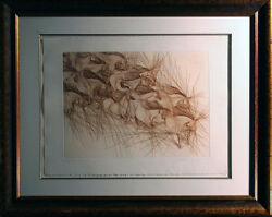 Guillaume Azoulay Le Mouvement Hand Signed W/custom Frame 1982 Horses L@@k