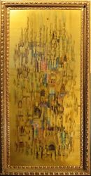 Francisco, Original Art Painting Gold Oil On Wooden Panel Framed Submit Offer