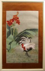 An Li Han Rooster Signed Original Watercolor Painting, Framed Chinese Art