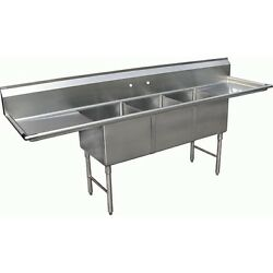 3 Compartment Stainless Steel Sink 20x24 2 Drainboard