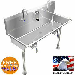 Hand Sink 42 2 Users Multi Station Hands Free With Legs Stainless Steel Basin