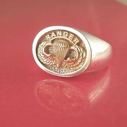 Army Ranger Jump Wings Ring - 14k And Sterling - 36-17
