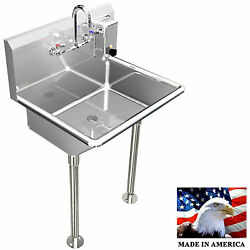 Hand Sink Manual Faucet 24 Single User 1 Person Heavy Duty 304 Stainless Steel