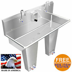 Hand Sink 2 Person Multi Station 40 Pedal Valve Stainless Steel Hd. Made In Usa