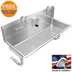 Multiusers 2 Person Hand Sink Basin 40 Manual Faucet Stainless Steel Wall Mount