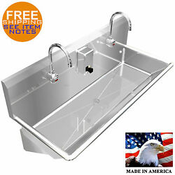 Wash Up Hand Sink 2 Users Multi Station 48 Elec Faucet Stainless S. Made In Usa