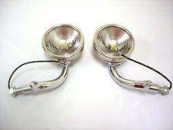 1930 1931 Ford Model A Deluxe Stainless Cowl Lamps Lights 6 Volt Complete W Lens