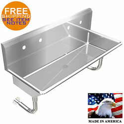 Industrial 2 Station Multiuser Wash Up Hand Sink 48 Wall Mount Stainless Steel