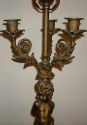 Antique Brass And Marble Table W/ Statues Candle Holder