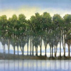 30wx30h Trees In A Row By Albert Williams - Tall Green Spruce Landscape Canvas
