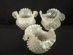 1880and039s Set Of 3 White Opalescent Hobnail Kero Oil Gas And039roller Coasterand039 Shades