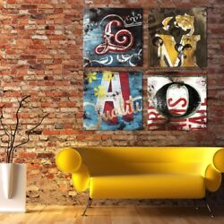 36wx36h Each •lmao• 4 Letters - Name Your Art With Rodney White Giclee Canvas