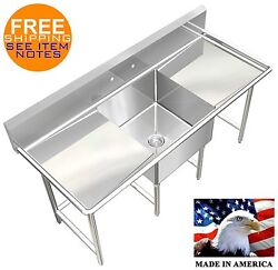 Pot Sink 1 Compartment Nsf Approved Heavy Duty 304 S.s. 14ga L Size Made In Usa