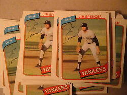 1980 Topps 100 Card Lot New York Yankees Jim Spencer Check Out My Other Lots