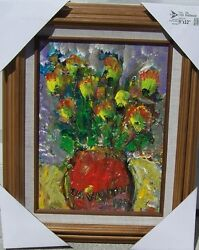 Listed Artist Charles Vavrina Acrylic On Board Red Pot Bouquet 12 X 9