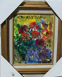 Listed Artist Charles Vavrina Acrylic On Board Pot Of Pansies 10 X 8