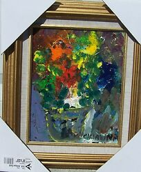 Listed Artist Charles Vavrina Acrylic On Board Plants And Flowers 10 X 8