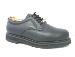 Vegace Men Steel Toe Black Leather Shoe Work Restaurant Oil Slip Resistant 9007