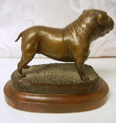 Vintage By Tom Moro Limited Edition 4500 Bronze BULL DOG Bulldog Statue 1981