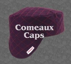 NWT Comeaux Welding Caps Welders Hats Black Quilted with Red Diamond Stitching $12.99