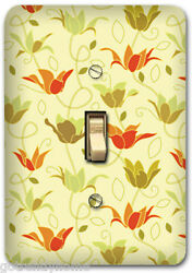 Cream Beige Flower Floral Metal Single Light Switch Plate Cover Home Decor 256