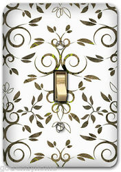 White Floral Flower Pattern Metal Single Light Switch Plate Cover Home Decor 236