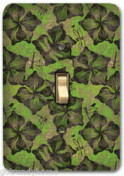 Green Leaf Floral Pattern Metal Single Light Switch Plate Cover Home Decor 232