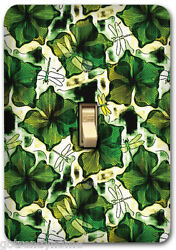 Green Leaf Floral Pattern Metal Single Light Switch Plate Cover Home Decor 233