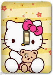 Hello Kitty Pink Flower Floral Light Metal Switch Plate Cover Home Decor 632