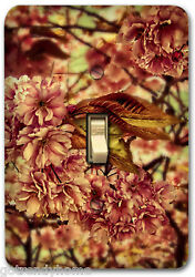 Pink Plum Tree Flower Floral Metal Light SwitchPlate Cover Single Home Decor 570