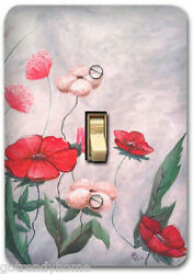Red Flower Floral Art work Light Metal Switch Plate Cover Home Decor Kitchen 680