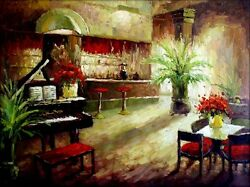 Stretched Bar Counter W/a Grand Piano Quality Hand Painted Oil Painting 30x40in