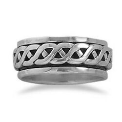 Rope Design Spin Ring 925 Sterling Silver Very Nice Simple Band Mens Mans Men