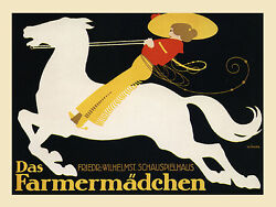 Horse Farm Cowgirl Germany German Yellow Hat Vintage Poster Repro Free Shipping