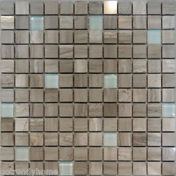 10sf-wooden Gray Marble Stone And Glass Mosaic Tile Backsplash Kitchen Spa Sink