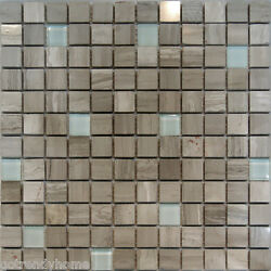 1sf-wooden Gray Marble Stone And Glass Mosaic Tile Backsplash Kitchen Spa Sink