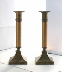 Pair Vtg Candlesticks Brass Base Top Wood Stem Gold Stain Antique Style 8 Tall