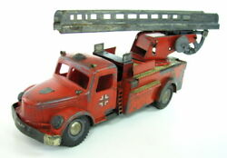 Rare German Tin Plastic Wind Up Toy Wh Fire Truck 809 Engine 1930's Germany
