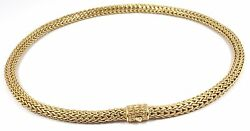 John Hardy Classic Solid 18K Yellow Gold 6mm Wheat Chain Necklace 16