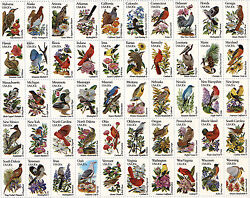 Us Scott 1953-2002 State Birds And Flowers Mnh Full Sheet Of 50free Ship