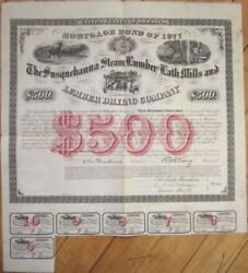 Giant 1867 Bond Certificate W/map On Back And039susquehanna Steam Lumber And Lath Co.and039